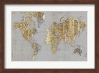 Framed Gilded Map Light Gray