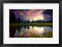 Framed Sunset Grand Tetons, WY