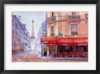 Framed Paris Cafe w/Eiffel