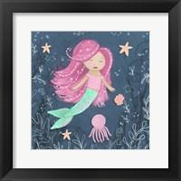 Framed Mermaid and Octopus Navy I