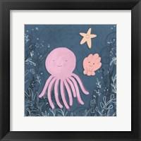 Framed Mermaid and Octopus Navy II