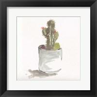 Framed Watercolor Cactus Still Life II