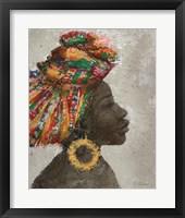 Framed Portrait of a Woman I (gold hoop)