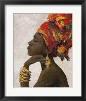 Framed Portrait of a Woman II (gold bracelets)