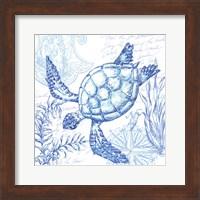 Framed Coastal Sketchbook Turtle