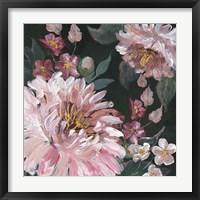 Framed Romantic Moody Florals on Black I