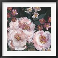 Framed Romantic Moody Florals on Black II