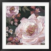 Framed Romantic Moody Florals on Black III