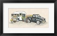 Framed Vintage Flower Truck and Trailer