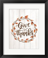Framed Give Thanks Wreath