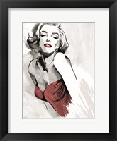 Framed Marilyn's Pose Red Dress