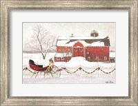 Framed Christmas Barn with Sleigh