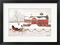 Framed Christmas Barn with Sleigh