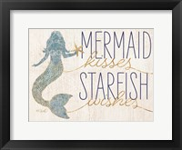 Framed Mermaid Kisses Starfish Wishes