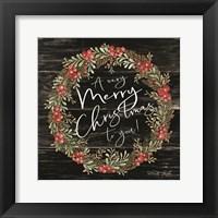Framed Very Merry Christmas Wreath