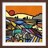 Framed Lavender Fields at Sunset