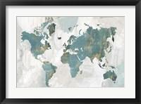 Framed Teal World Map