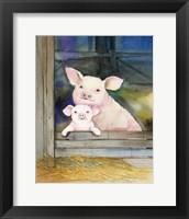 Framed Farm Family Pigs
