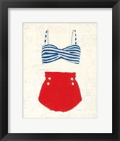 Framed Retro Swimwear IV Newsprint