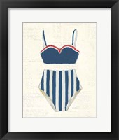 Framed Retro Swimwear III Newsprint