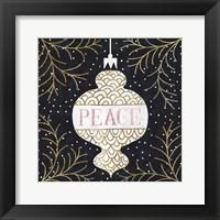 Framed Jolly Holiday Ornaments Peace Metallic