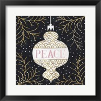 Jolly Holiday Ornaments Peace Metallic Framed Print