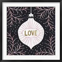Framed Jolly Holiday Ornaments Love Metallic