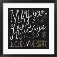 Framed Quirky Christmas Merry and Bright Metallic