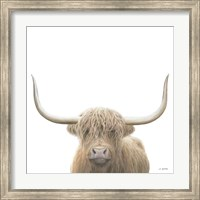 Framed Highland Cow Sepia Sq