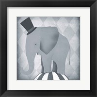 Framed Circus Elephant Gray