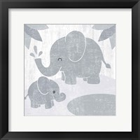 Framed Safari Fun Elephant Gray no Border