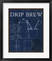 Framed Coffee Blueprint III Indigo