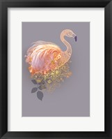 Framed Floral Gold Flamingo