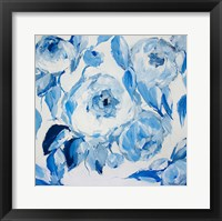 Framed Blue and White Peonies
