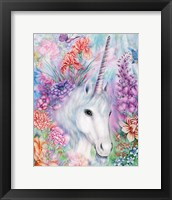 Framed Floral Unicorn
