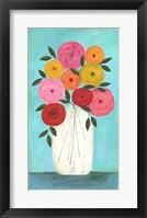 Framed Bright Flowers - Teal Background I