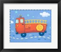 Framed Blue Firetruck