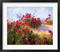 Framed Red Poppies and Wild Flowers