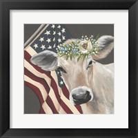 Framed Patriotic Cow