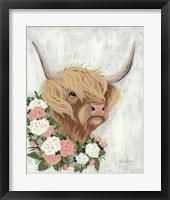 Framed Floral Highlander Cow