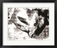 Framed Modern Black & White Rhino