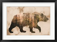 Framed Brown Woods Bear Silhouette