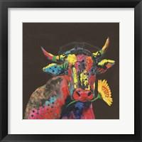 Framed Cow in Dark Gary