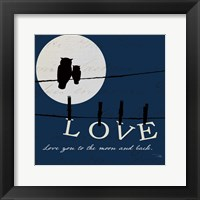 Framed Moon Love I Indigo