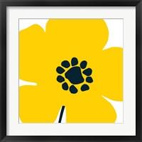 Framed Pop Art Floral I Yellow