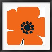 Framed Pop Art Floral I Orange