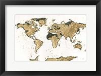 Framed World Map Gold Leaf