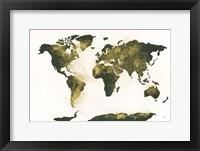 Framed World Map Gold Dust