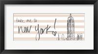 Framed Take Me to New York on Pink