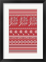 Framed Nordic Cross Stitch Red